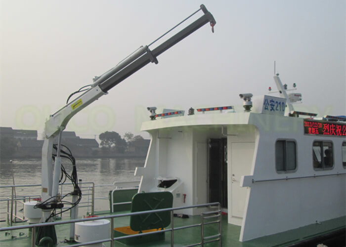 White Color 0.98T5M Hydraulic Marine Crane Telescopic Boom Boat Crane For Boat